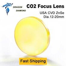 США CVD ZnSe CO2 лазерный объектив 12 мм 15 мм 18 мм 19,05 мм 20 мм Диаметр 38,1-127 мм 1,5-5 дюймов фокусное расстояние зеркала для CO2 лазерной машины