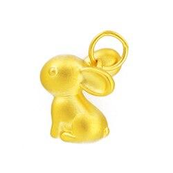 Gerçek 999 24 k Sarı Altın Kolye 3D Kadınlar Güzel Tavşan Sadece Kolye 10.5x12mm