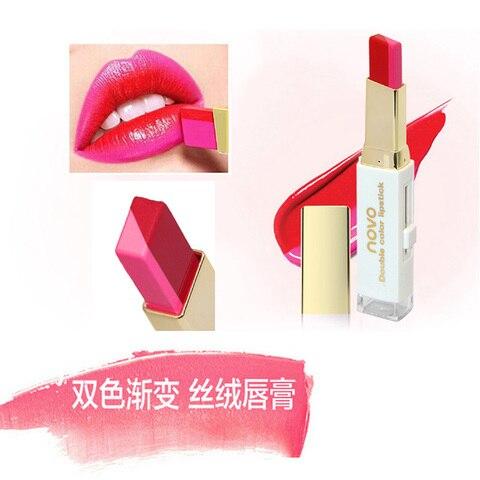 NOVO Lipstick Lip Makeup Double Color makeup Three-dimensional Moisturizing Lipstick Lip Blam Cosmetic 8 Colors for Choose Multan