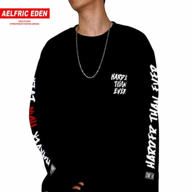 Aelfric Eden hombres hip-hop algodón manga larga suelta Graffit letra  camisetas Bboy Streetwear Camisetas 363c7b7acb1