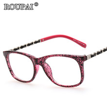 ROUPAI 2017 New Fashion Korean Women Glasses Frames Pretty Clear Eyeglasses Classic Hipster Vintage Female Print Frame Eyewear