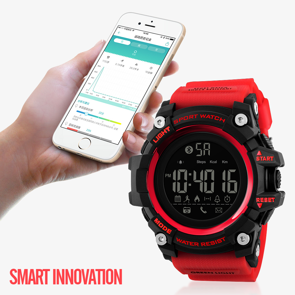 <font><b>SKMEI</b></font> Men Smart Watch Pedometer Alarm Sports Watches Remote Camera Reminder Bluetooth Wristwatches Relogio Masculino <font><b>1385</b></font> image