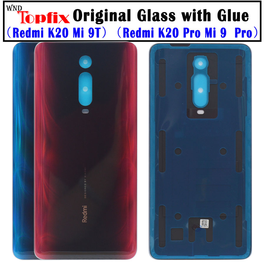 Original For Redmi K20 Pro Battery Cover Back Glass Panel Rear Door Case For Xiaomi Mi 9T Pro Battery Cover Back Cover WithLens