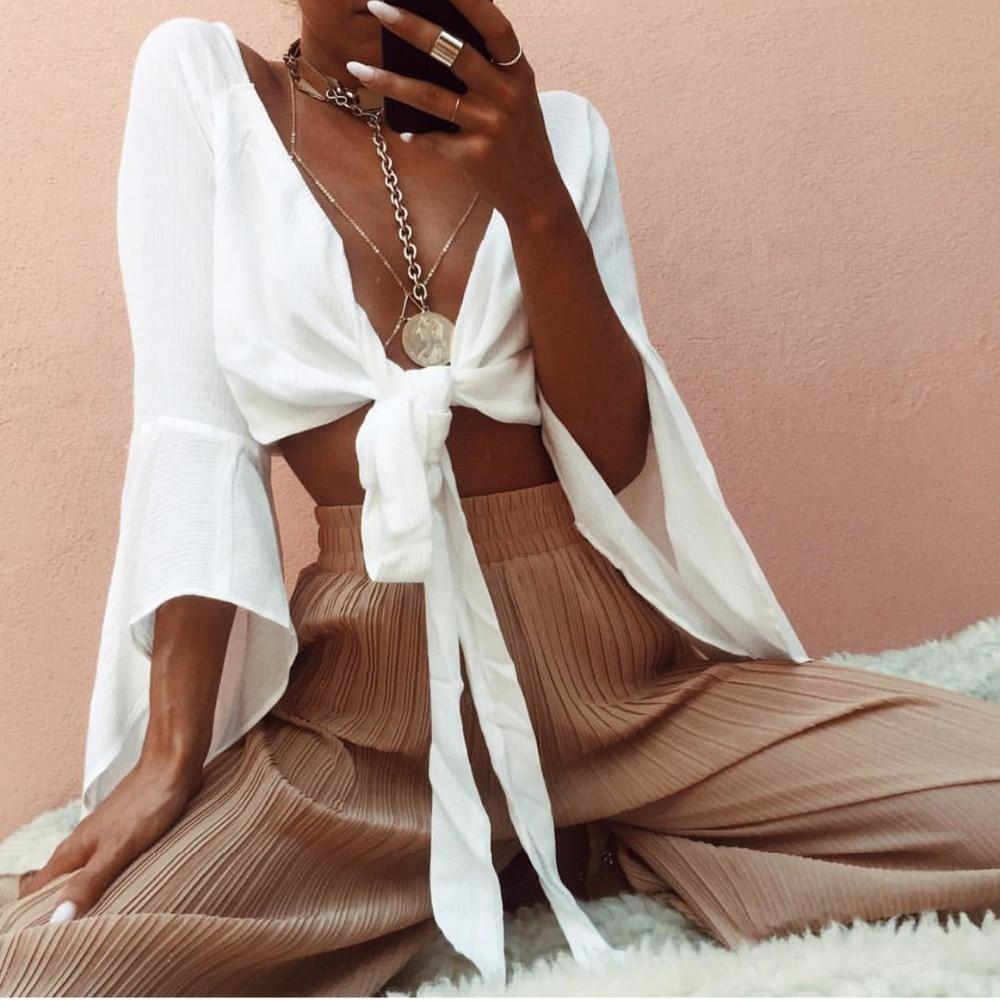 Frühling Streetwear Frauen White Sexy V-ausschnitt Bluse Voll Flare Hülse brust Fliege Weibliche Dünne Kurze Shirt Chiffon-Grundlegende Crop Tops