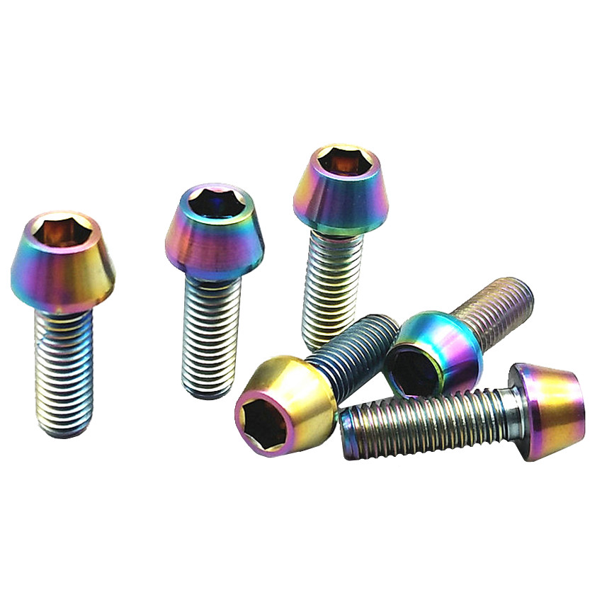 все цены на Titanium Bolt for Long Type Seat Pin Bicycle M6 x18-70mm Ti Bolts Cone Head Steel/Gold Color Titanium Screws Ti Fastener 6 pcs онлайн