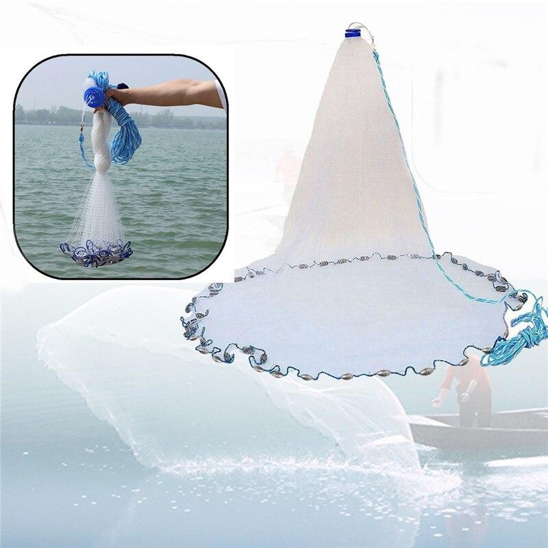 Bobing Diameter 7.2m Cast Net 12ft Monofilament Mesh Saltwater Bait Casting Net With Sinker Portable Durable Sea Fishing Nets цена