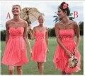 Без бретелек коралл вечерние платья со складками подружки платье подружки невесты короткая свадьба ну вечеринку платье розовый платье подружки невесты платье