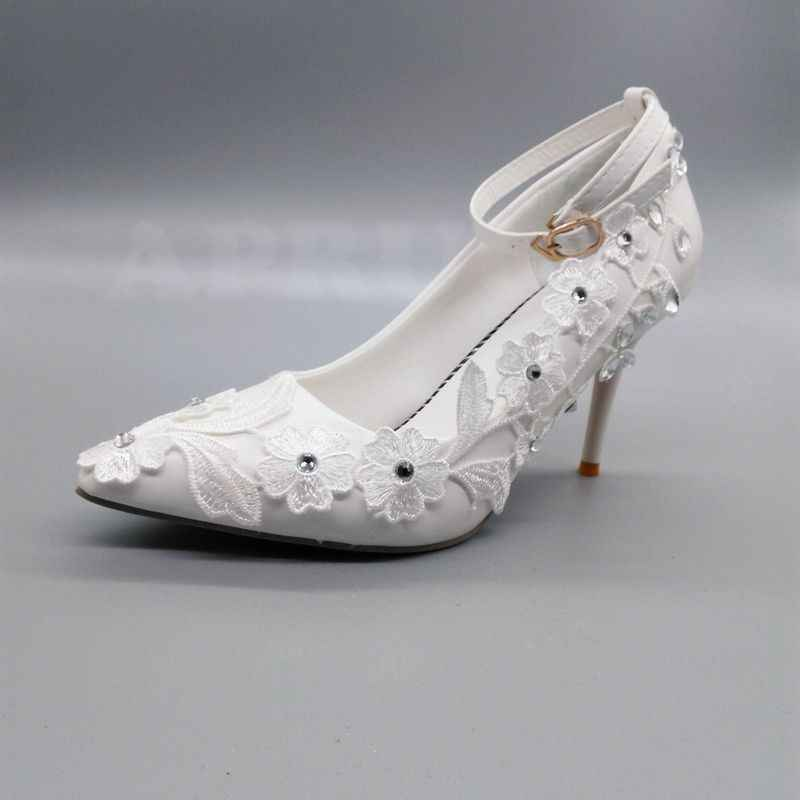 Lace Wedding Shoes.Lace Wedding Shoes Bride White Color Ankle Buckle Straps Sexy Thin High Heels Point Toes Ladies Party Bridal Bridesmaid Pumps