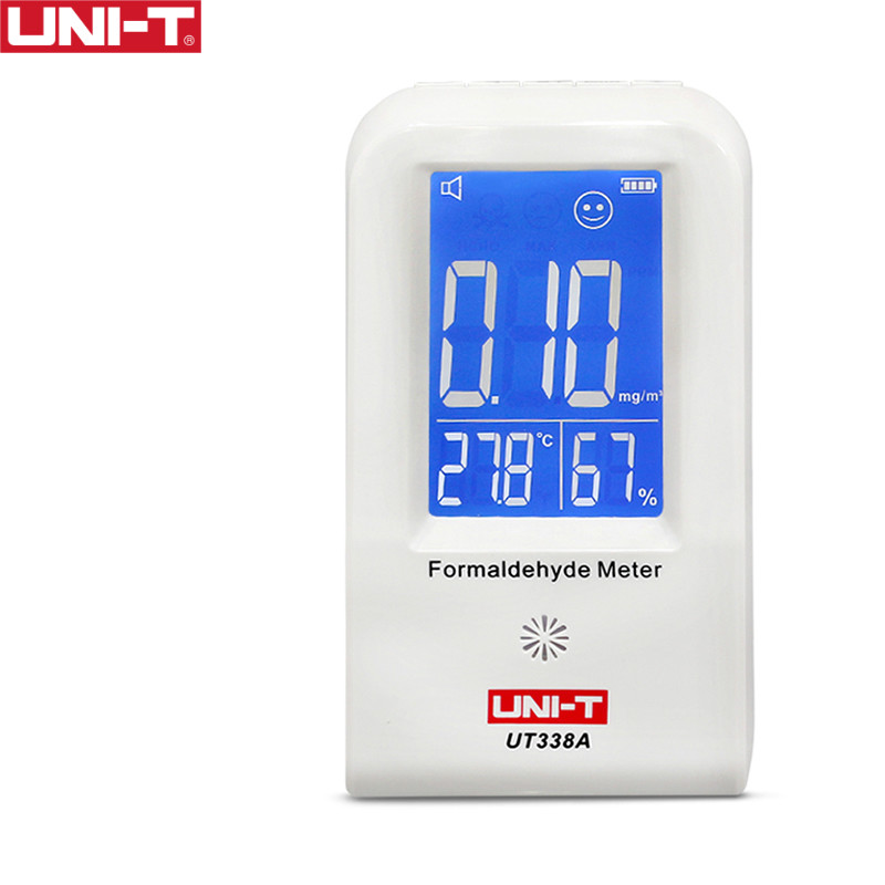 UNI-T UT338A High Precision Indoor Formaldehyde Meter Formaldehyde Data Logger Detector Air Monitor Thermometer Hygrometer LCD digital indoor air quality carbon dioxide meter temperature rh humidity twa stel display 99 points made in taiwan co2 monitor