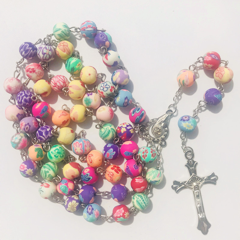 Rosary for Car Rearview Mirror Amethyst Pink Beads W Silverfoil Accents