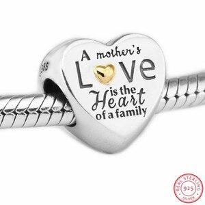 Image 4 - Kalp aile boncuk kadınlar takı yapımı için DIY Fit PANDORA Charms gümüş 925 & 14K altin değil kaplama anne hediye FL596K