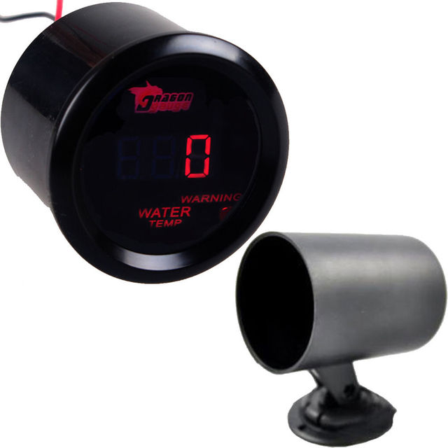 "Apoyo EE 2 ""52mm Negro Cubierta Universal Auto Car LED Rojo Digital Celsius Water Temp Gauge Meter XY01 + Pod Holder"