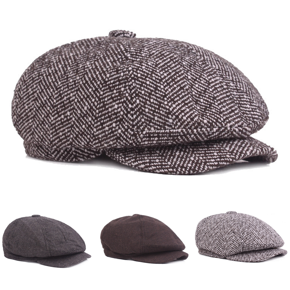 Men Vintage Knitted Winter Cabbie Driving Golf Beret Hat Newsboy Soft Stripe Cap HATCS0550
