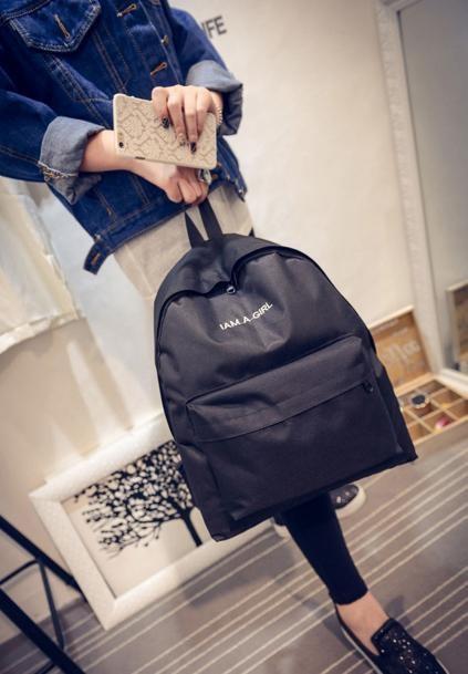 Women Canvas Letter Black Backpack School Shoulder Bag For Teenagers Girls Leisure Travel Rucksack adolescente menino *10