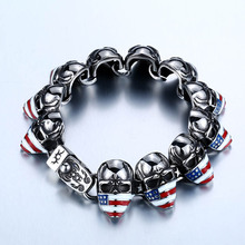 BEIER New Cool Punk American Flag Skull Bracelet For Man 316 Stainless Steel Man's High Quality Jewelry BC8-025