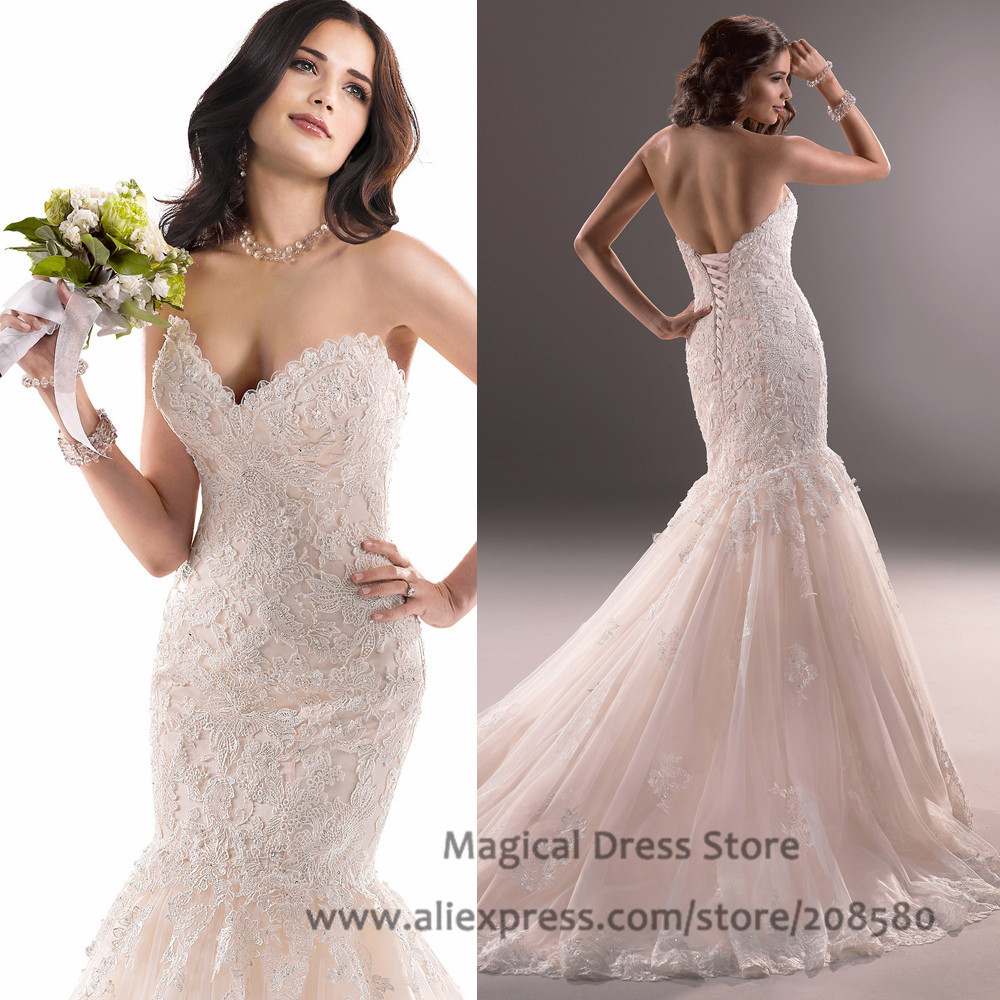 Wedding Discount Bridal Gowns online get cheap discount bridal gowns aliexpress com alibaba group chinese lace blush pink wedding dresses appliques corset back brautkleider 2016 mermaid prices