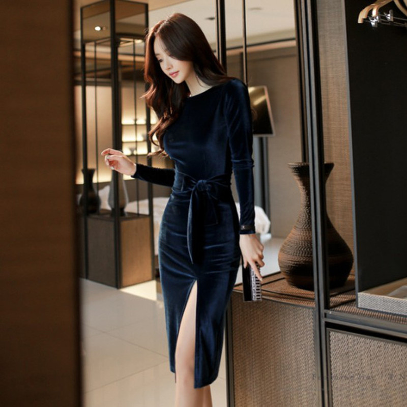 2017 Winter Party Office Dresses for Women Solid Long Sleeve Black Bodycon Vintage Vestidos Velvet Dresses Split Sheath Dress