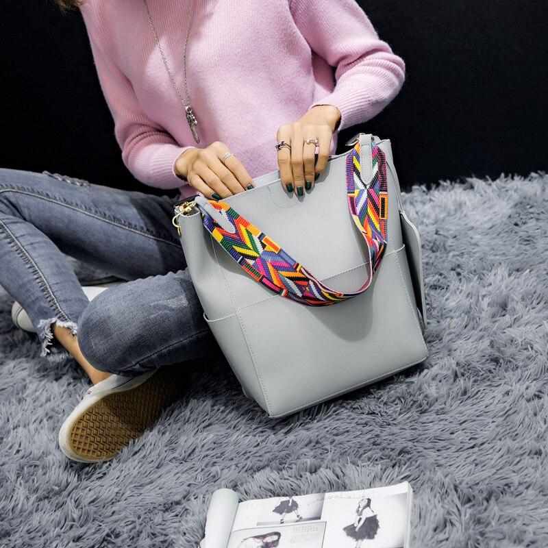 Winmax 2017 대형 한국 스타일 숙녀 합성 양동이 핸드백 넓은 스트랩 여성 컬러 리본 어깨 크로스 바디 메신저 가방
