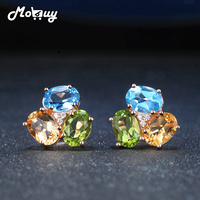 MoBuy MBEI037 3 Colors Oval Gemstone Citrine Topaz Peridot Stud Earrings 925 Sterling Silver Jewelry Rose Gold Plated For Women