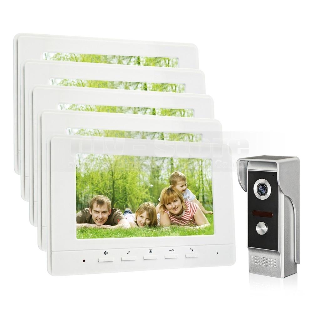 DIYSECUR 7inch Video Intercom Video Door Phone 700TV Line IR Night Vision Outdoor Camera for Home / Office Security System 1V5