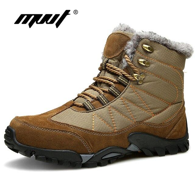 Winter Super Warm Männer Schnee Stiefel Mit Fell Kurze Plüsch Stiefeletten Wasserdichte Stoff Winter Schuhe Männer Stiefel