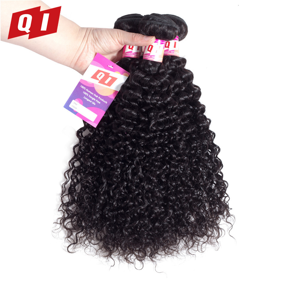 QI Hair Indian Kinky Curly Weave Human Hair Bundles Hair Weave 3 Bundles Non Remy Hair Weaving Natural Color Extensions