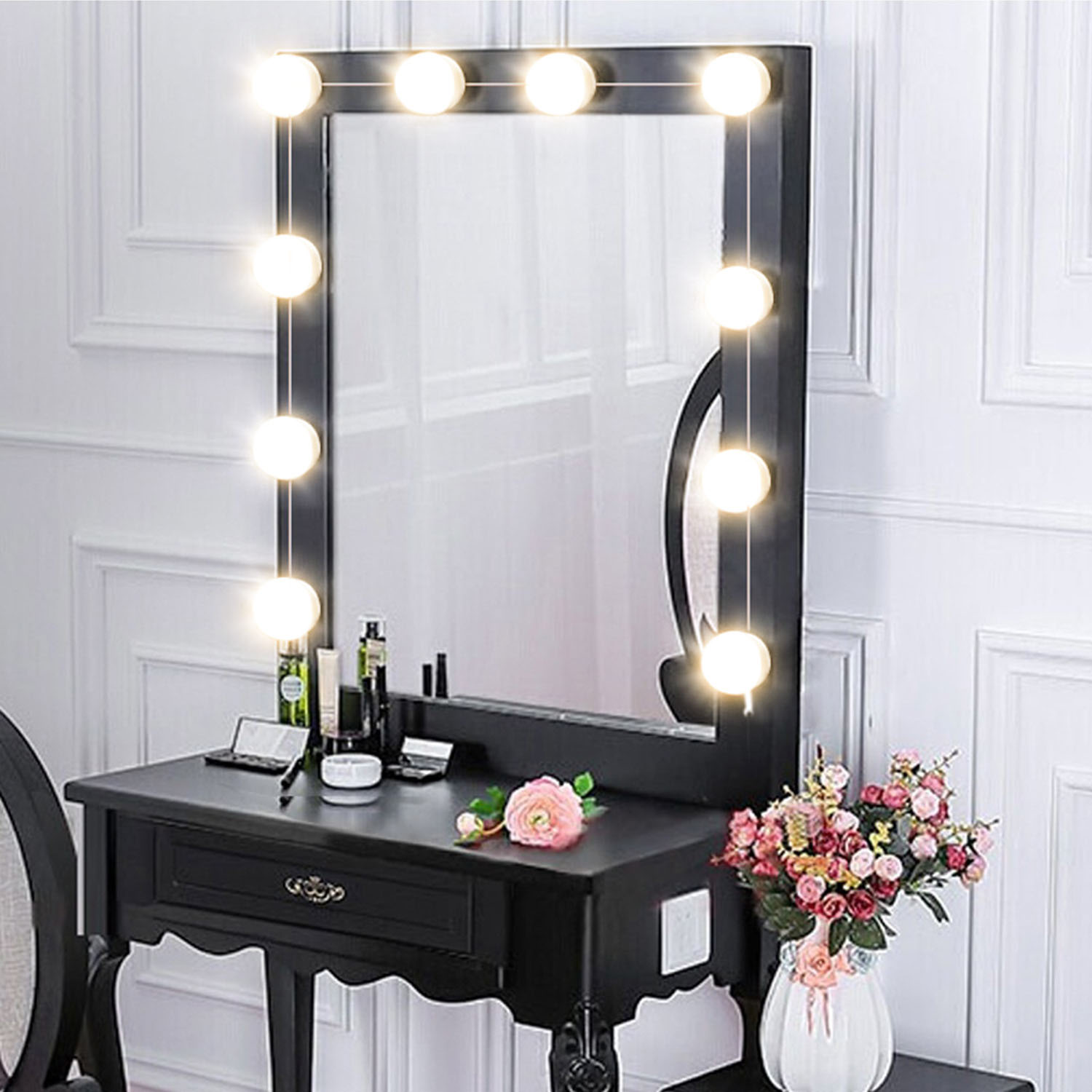 makeup mirror led lights 10 hollywood vanity light bulbs for dressing table with dimmer and plug. Black Bedroom Furniture Sets. Home Design Ideas