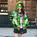 Мода Camonflage Куртки 2017 Новый Случайный Осень Зима Свободный Размер Женщин Собаки Вышивка Дизайнер Новый Блестками Куртка