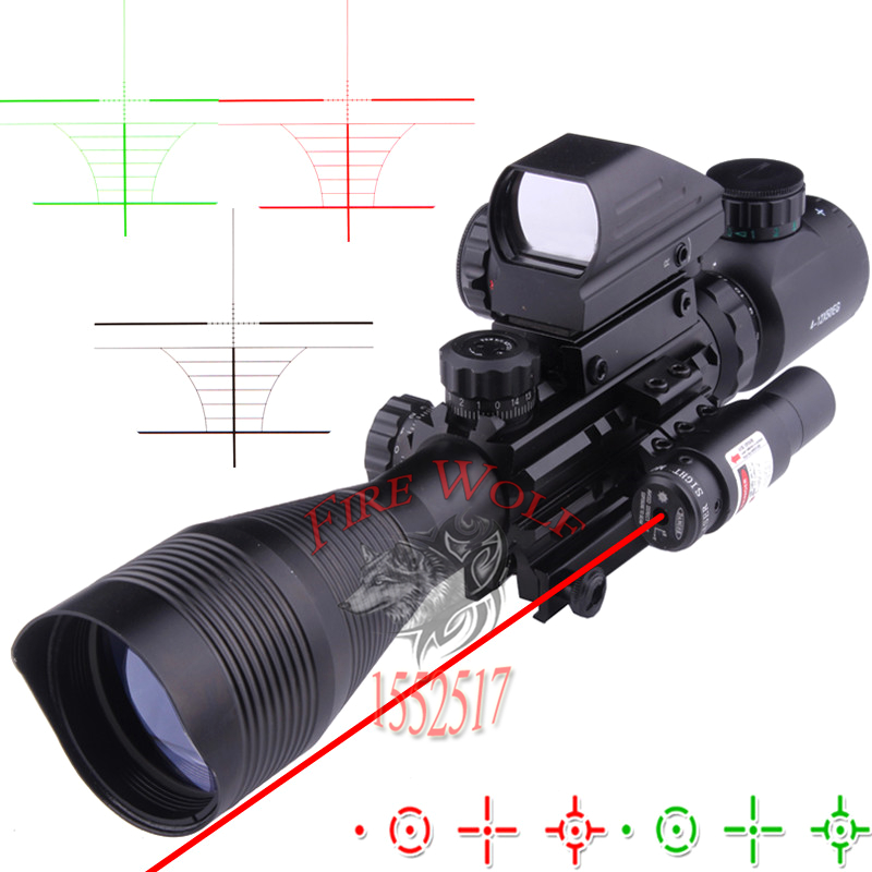 4-12X50EG Tactical Rifle Scope with Holographic 4 Reticle Sight & Red Laser Combo Airsoft Gun Weapon Sight Hunting джинсы узкие для 8 16 лет
