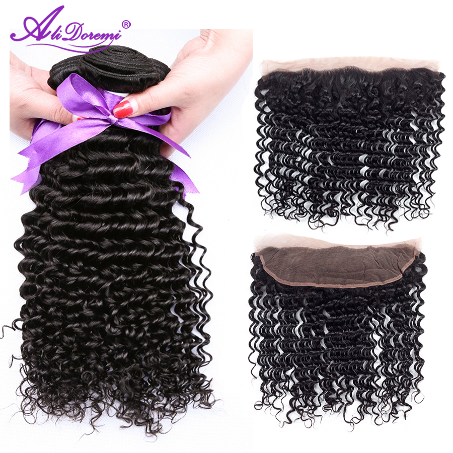 Alidoremi Brazilian Deep Wave 3 Bundles With Lace Frontal Closure Hair Weave Bundles Non Remy Human Hair Free Shipping