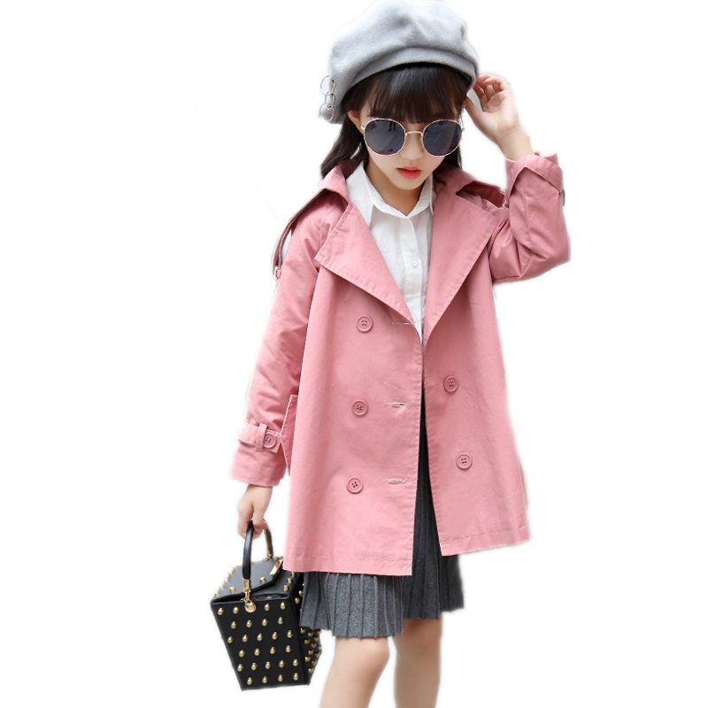 girl jackets and coats 2017 autumn winter kids clothes solid turn down collar girls outwear double breasted kids trench jackets