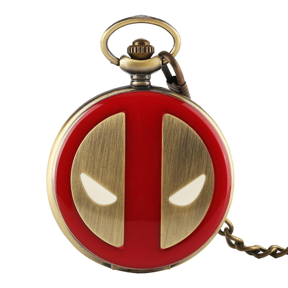 Creative DEADPOOL Halloween Pumpkin Design Bronze Quartz Pocket Watch With Chain Reloj De Bolsillo Hombre Gift Women Men Loki