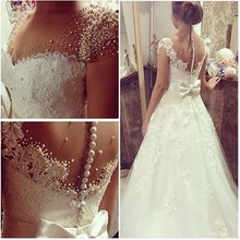 SexeMara Cap Sleeves Full Pearls Wedding Dress With Nice