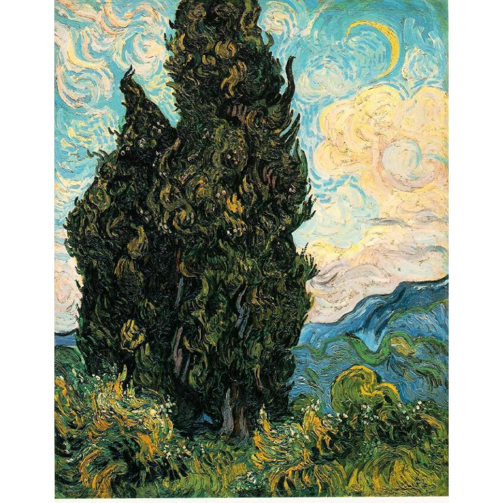 Vincent Van Gogh paintings on Canvas Two Cypresses II hand-painted wall art decor High qualityVincent Van Gogh paintings on Canvas Two Cypresses II hand-painted wall art decor High quality