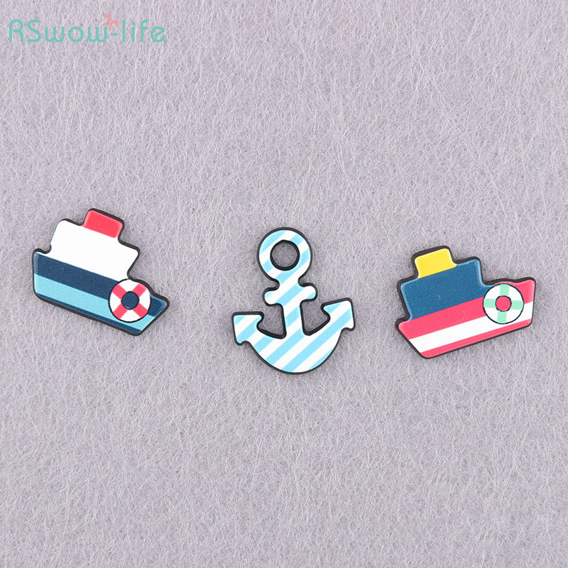 Cute Cartoon Resin Badge Brooch Backpack Clothes Accessories Sailing Ship Anchor Style For Clothes Decorated Or Give To Friends
