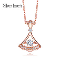 HeeZen Rose gold Elegant Small Skirt Pendant Necklace Chic Fan shaped Dancing Stone Clavicle Chain Necklace Women Jewelry Bijoux