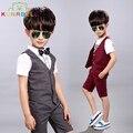 Ropa de niños Sets Bebé Caballero de Verano de Los Cabritos Que Arropan Algodón Guapo Chaleco de Punto Camisa Cortocircuitos Formales B020
