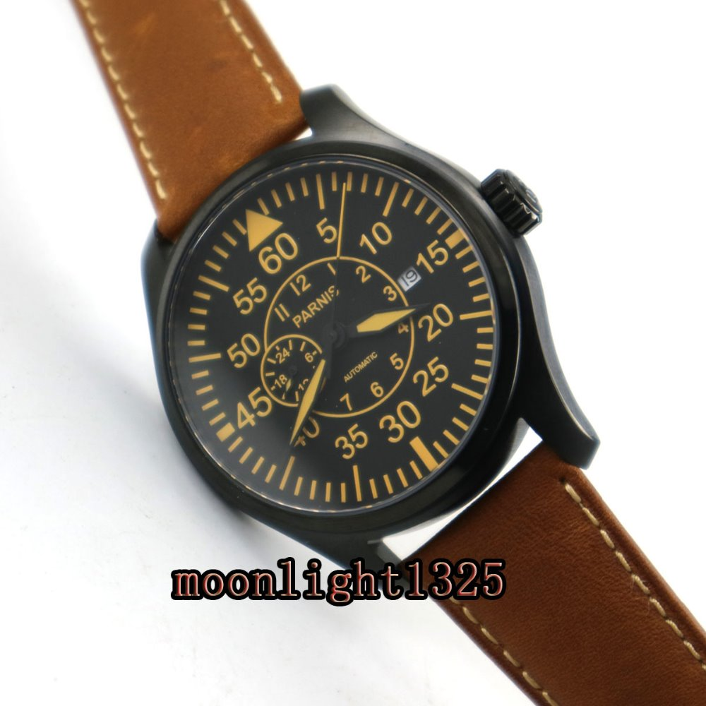 44mm parnis black dial sapphire glass complete calendar 21 jewels miyota automatic movement men s watch Parnis 44mm black dial sapphire glass PVD case 21 jewels MIYOTA Automatic Men's watch wristwatch