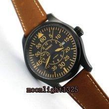 Parnis 44mm zifferblatt schwarz saphirglas PVD fall 21 juwelen MIYOTA Automatische herrenuhr armbanduhr