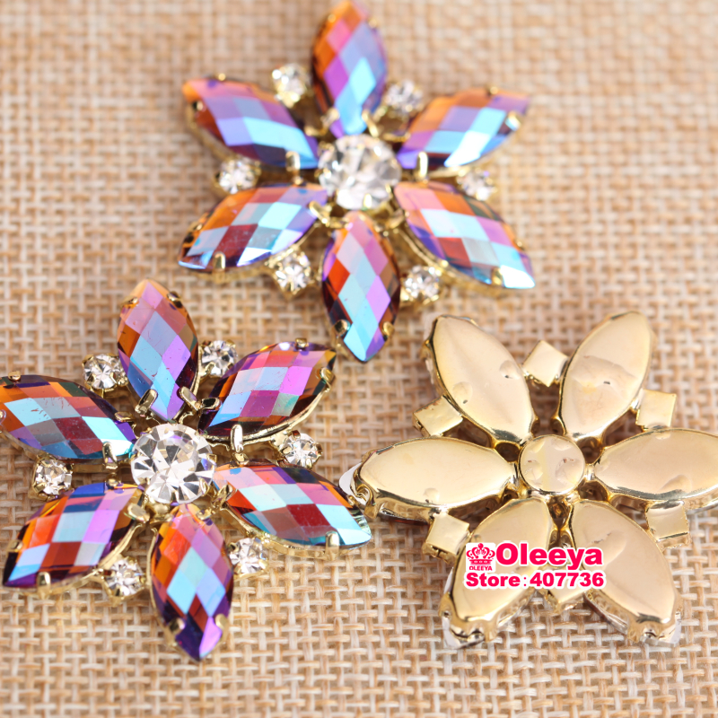 Hotfix iron on transfer 18 gold hologram flowers with pink centre 2cm