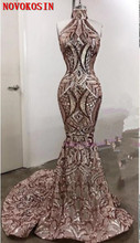 Halter Mermaid Prom Dresses 2019 Sleeveless Floor Length High Quality Embroidered Sequined Lace Formal Evening Dress Party Gowns цены