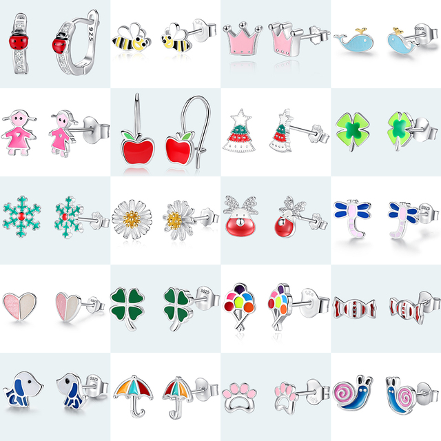 Christmas 925 Sterling Silver Enamel Clover Ladybug Bee Stud Earrings for Women Girls Children Kids Fashion Jewelry Bijoux Gift