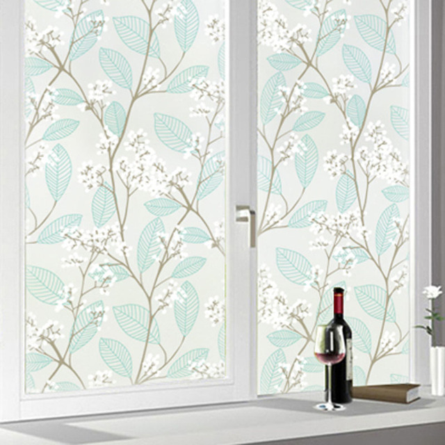 Self adhesive window film green leaves white flowers decorative glass window stickers opaque privacy protection