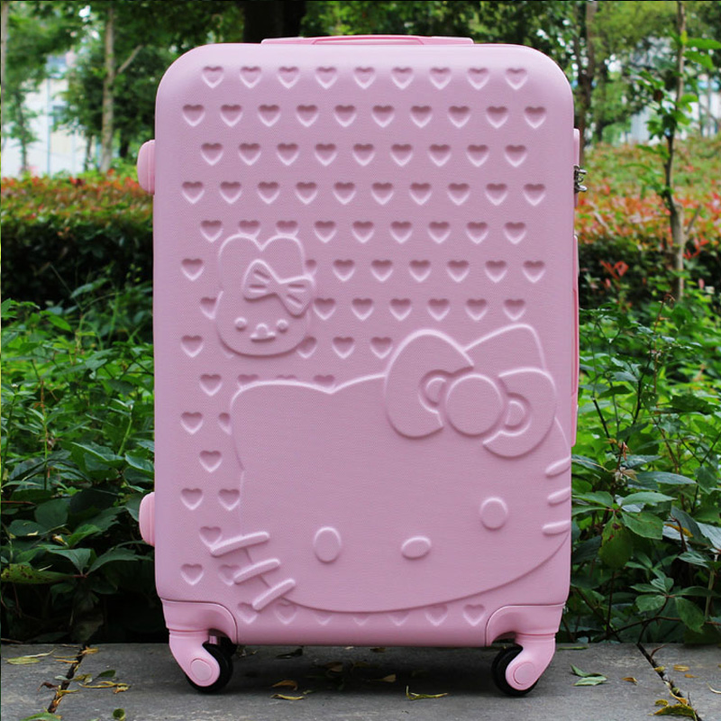цена на 20Inch Women Hello Kitty Travel Suitcase,Spinner Bag Hello Kitty,ABS Luggage Bag,Girl Travel Bag,HelloKitty trolley luggage