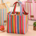 Colorful Stripe Inner Aluminum Foil Lunch Bag for Women Work Handbags Men Thermal Food Picnic Portable Insulated Lunch Box