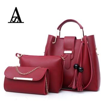 3PcsSets Women Handbags Leather Shoulder Bags Female Large Capacity Casual Tote Bag Tassel Bucket Purses and Handbags Sac Femme tote bag