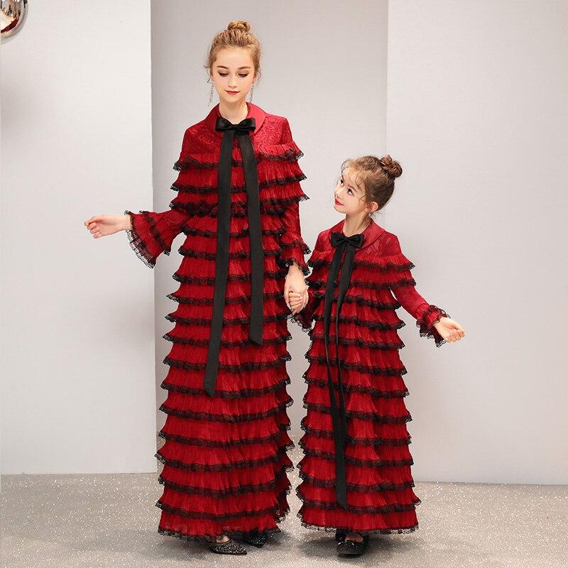 2019 luxe Desgin mère fille robes de mariée Style de gâteau pour la famille correspondant vêtements maman maman et fille robe de soirée - 3