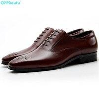 QYFCIOUFU/деловая итальянская мужская обувь из натуральной коровьей кожи дизайнерские модельные туфли черные, красные, винные мужские туфли на