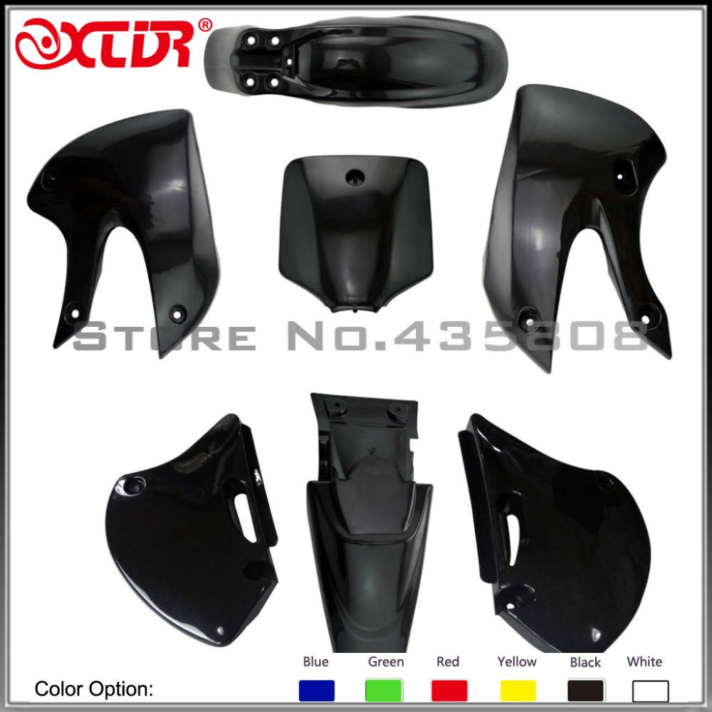 BBR Plastic Fender KITS cover full set FRONT TWO SAME AS KLX110 for MOTORCYCLE dirt bike/pit bike USE front plastic number plate fender cover fairing for honda crf100 crf80 crf70 xr100 xr80 xr70 style dirt pit bike