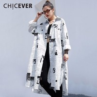CHICEVER Print Vintage Female Shirt Irregular Hem Batwing Sleeve Women's Fashion Blouses Single Breasted Split Long Top Fashion